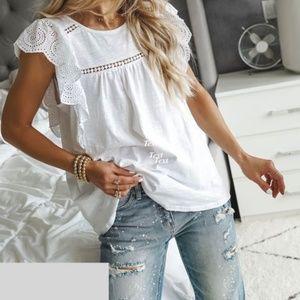 PacSun White Ruffle Sleeve Smocked Mini Dress